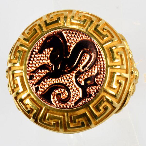 anello giallo ippocampo rosso